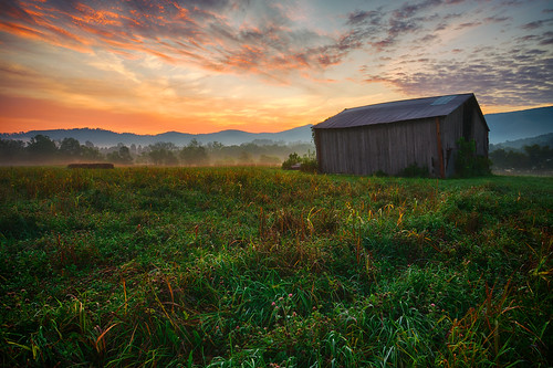 morning flowers sky foothills mist mountain field grass fog clouds barn sunrise dawn wooden farm tennessee farmland smoky hdr highdynamicrange smokymountains sevierville