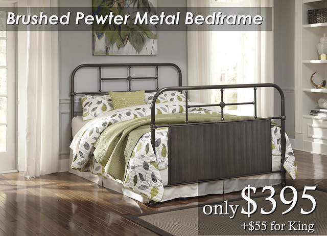 B280-281 Brushed Pewter Metal Bedframe QN $395 KG $450