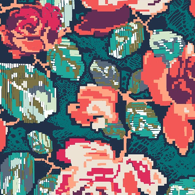 Before the full reveal- tomorrow , I am sharing one more peek to my second fabric collection #recollection and my favourite print inspired by some #tapestry pieces and woven #textiles #agfcomingsoon #artgalleryfabrics #katarinaroccella #recollectionfabric