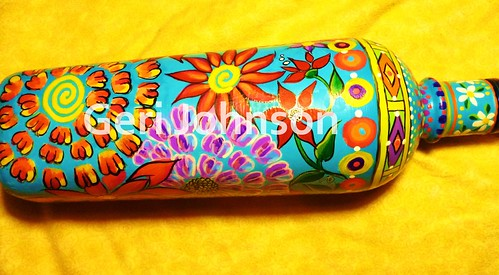 Recycled Painted Wine Bottle 5