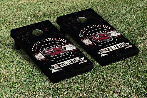 South Carolina Gamecocks Cornhole Game Set Banner Vintage Version