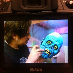 Teaser: Justin Mabry, mask maker, airbrushing one of his creations