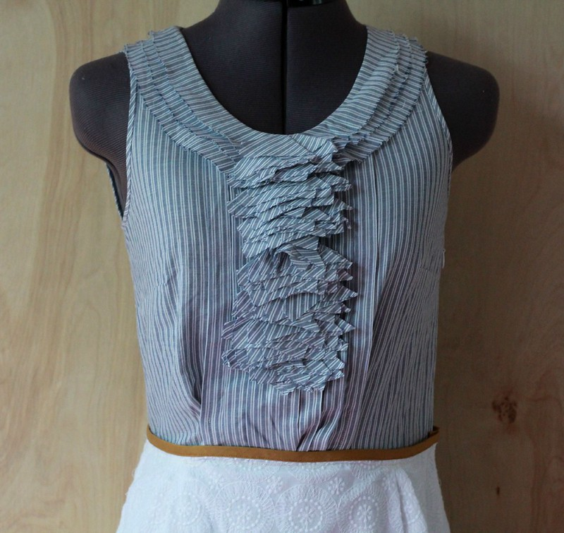 how to refashion a blouse into a sheath dress via Kristina J blog