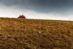 A vintage tractor, ploughing on the horizon