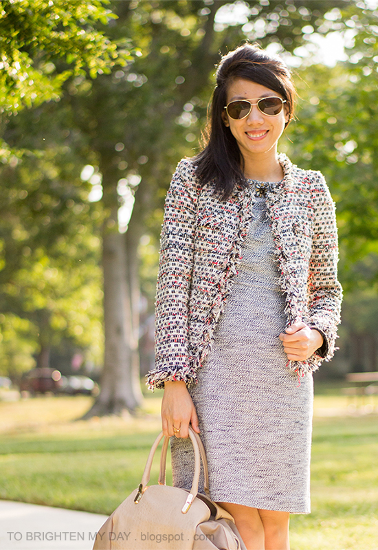tweed jacket, jeweled tweed dress, taupe bag