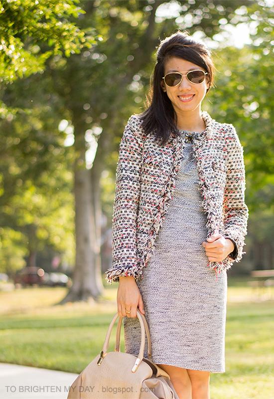 tweed jacket, jeweled tweed dress, taupe bag