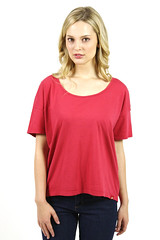 Womens Scoop Neck T-Shirt Red Short Sleeve