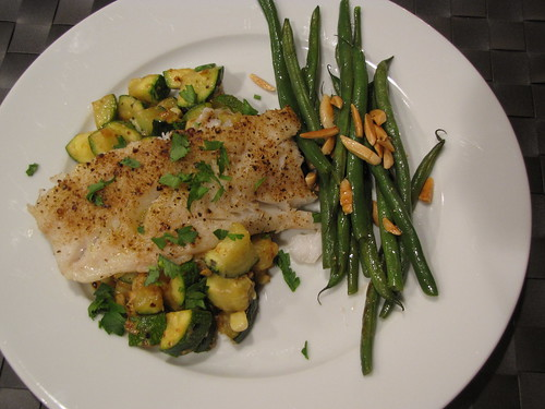 Baked Cod with Zucchini & Corn Sauté
