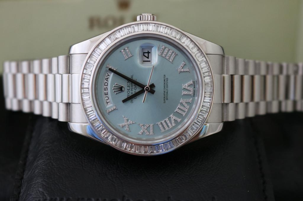 Đồng hồ rolex day date 6 số 218206 – Trắng Platinum PT – Size 41mm – Hạt Xoàn