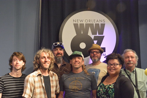 Sam Price and the True Believers: Matt Galloway (guitar), Phil Breen (keys), Ethan Shorter (drums), Sam Price (bass), Conga Mike (congas), Whitney Aloyisius (vocals), Tom Fitzpatrick (sax).  Photo by Kichea S Burt.