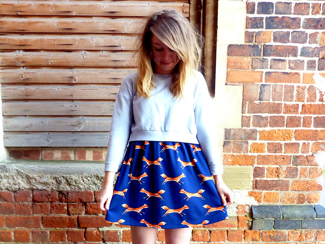 Fox print jersey dress