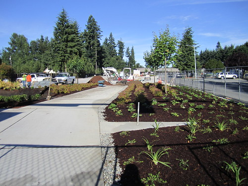 Smokey Point Transit Center, under construction in July 2014