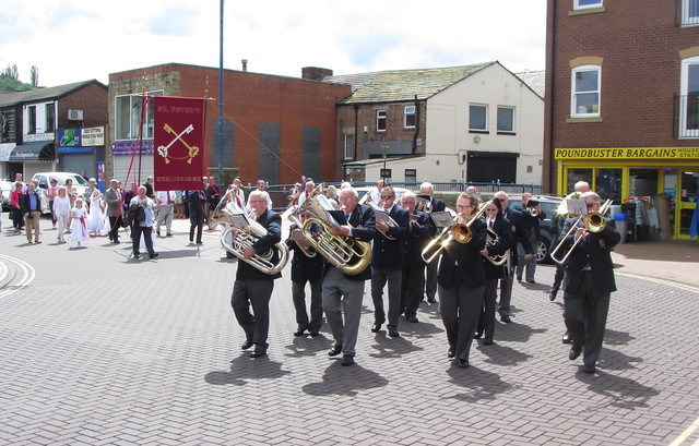 St Peters Catholic Church with Stalybridge Old Band, Armentieres Square, Stalybridge