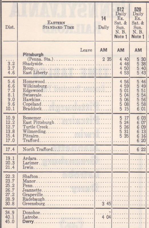 PRR 1950 Pittsburgh Derry Schedule