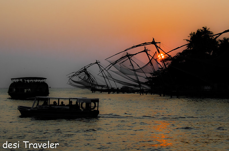 Sunset Chinese Fishing Nets Fort Kochi Kerala
