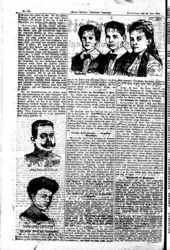Bozner Zeitung, 29 June 1914, page 2, Franz Ferdinand, his wife and children (Collection Friedrich Tessmann Library)
