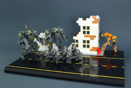 Military Mecha Suite X82 in a small diorama