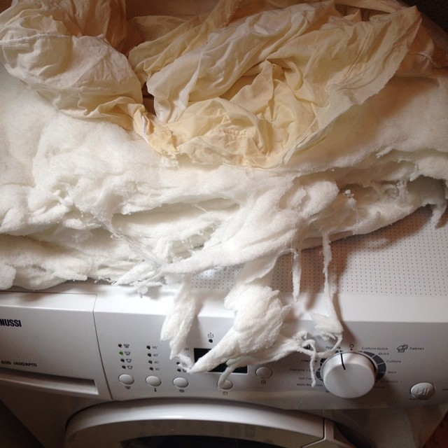 This was meant to be a washable pillow, but the machine thought otherwise #domesticity