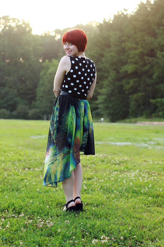 Asymmetrical Galaxy Print Skirt and a Polka Dot Top