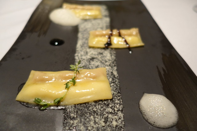Doppio Raviolo: Double filled ravioli with Parma Ham & Parmesa, Aged Balsamic Reduction & White Balsamic Foam - Gaia Ristorante, Goodwood Park Hotel