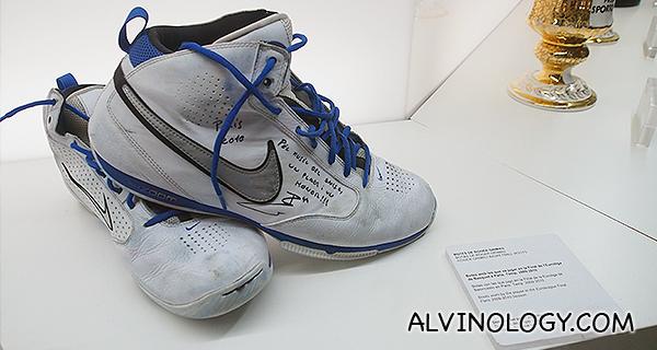 Signed basketball shoes