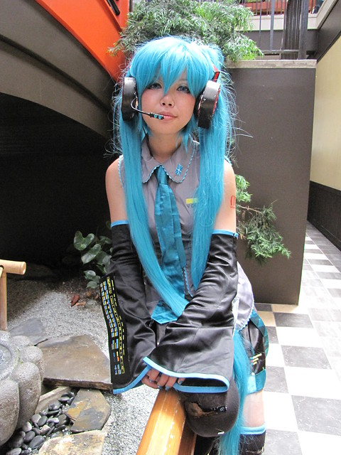 Anime Girl Cosplay with Blue Hair
