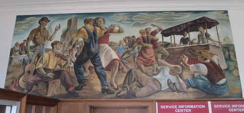 mural iowa ia postoffices newdeal frescoes louisacounty columbusjunction santegraziani