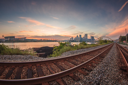 morning sky skyline sunrise canon am pittsburgh cityscape pennsylvania scenic fisheye pa rivers pinksky allegheny heinzfield stationsquare railroadtracks burgh pittsburghskyline leadinglines downtownpittsburgh westernpa alleghenycounty cityofpittsburgh coalbarge 60d pittsburghfisheye pittsburghsunrise h34739f9f h182b32ba