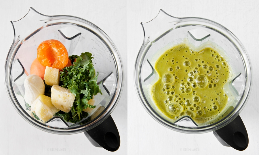 Green smoothie with kale, apricots, pineapple and nectarine