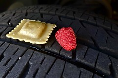 A Ravioli and a Raspberry on a Bridgestone Tire