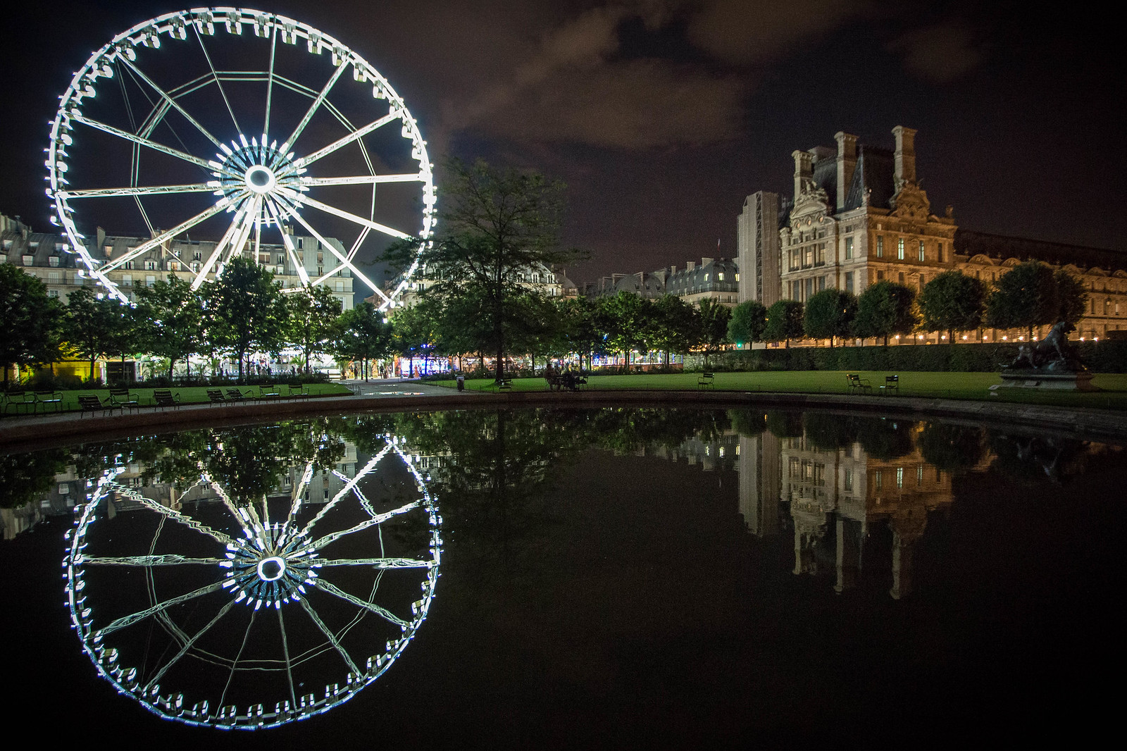 Tuileries Ferris Wheel and Louvre, Night Reflections