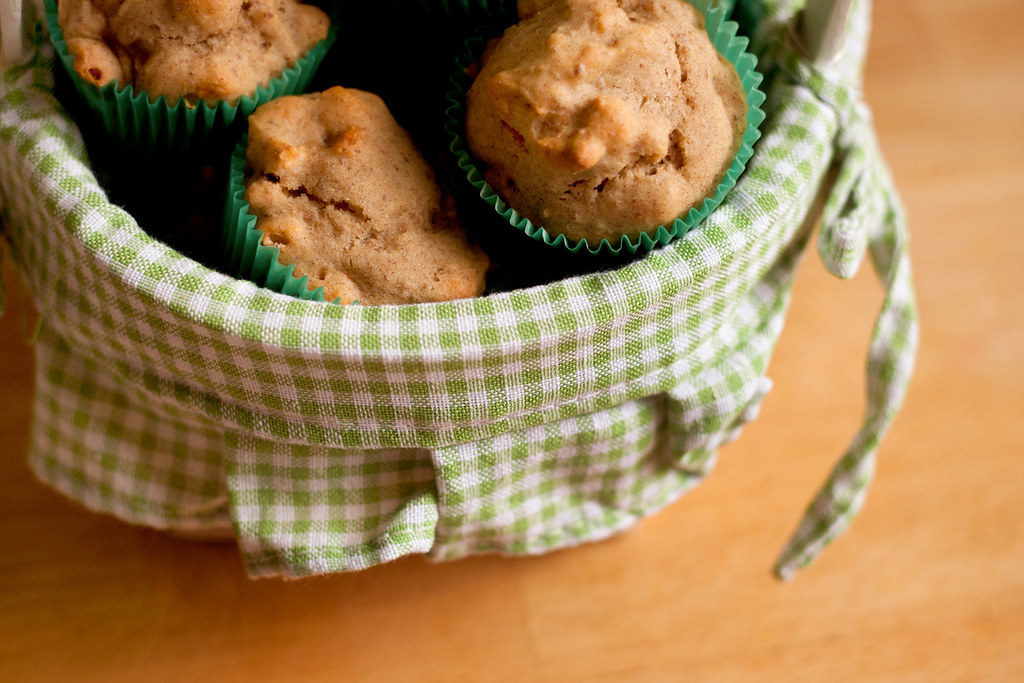 Apple Spice Muffins in a basket