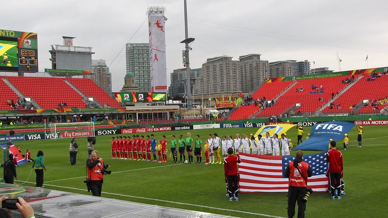North Korea vs USA, U-20 Women's World Cup - flags