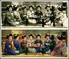 A MINI-MOB OF MERRY MAIKO -- Real Photo vs. 3-Color Halftone