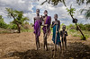 Ethiopia, Omo Vallay, Group of young Mursi