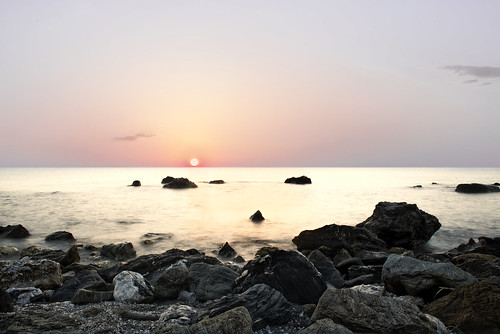 lighting longexposure morning blue light red sky panorama sun beach water clouds landscape greek rising still scenery rocks shadows outdoor horizon greece serenity moment scape tranquil larissa waterscape newday mesmerizing thessaly velika
