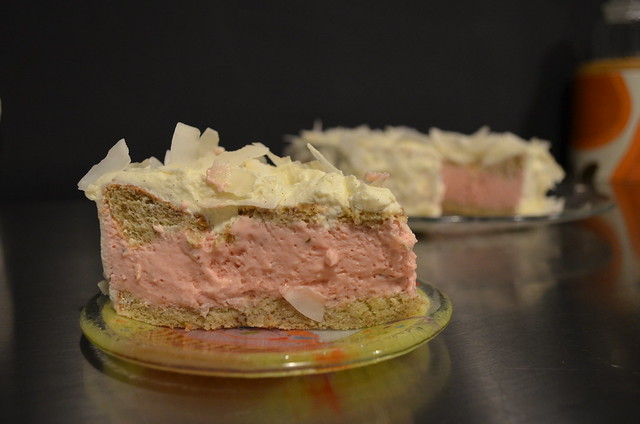 Strawberry-lime Mousse Cloud Layer Cake Gluten-free via Wholesome Cook_ slice in front of cake