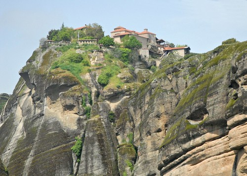 trees mountain building stone nikon cliffs greece monastery d200 meteora varlaam