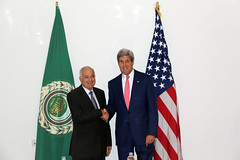 U.S. Secretary of State John Kerry meets with Arab League Secretary-General Nabil al-Araby, in Cairo, Egypt, September 13, 2014. [State Department photo/ Public Domain]