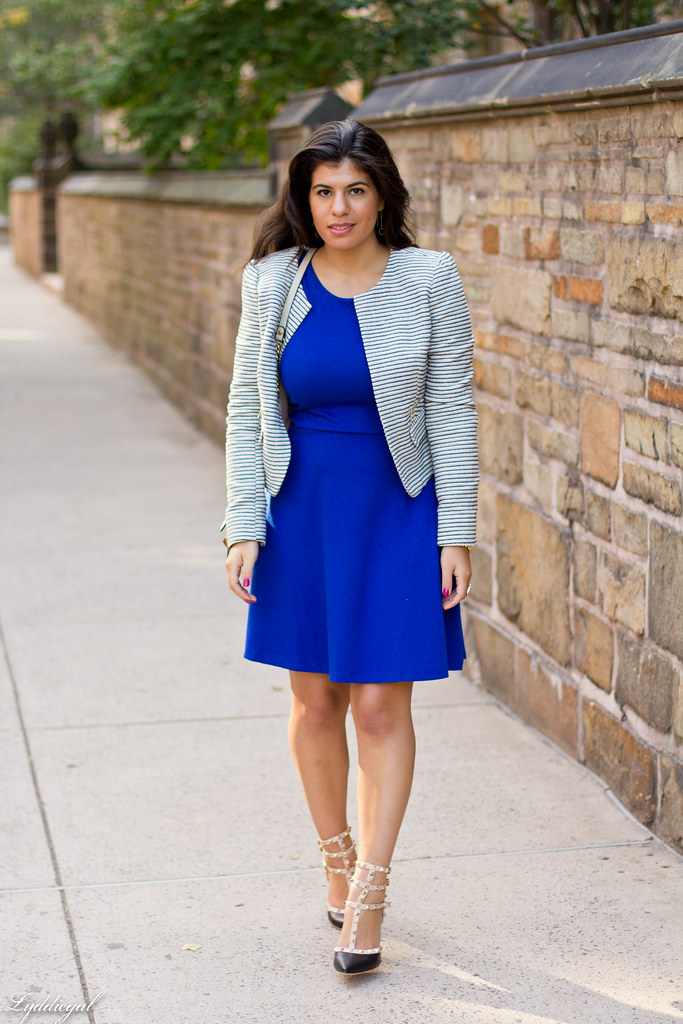 Cobalt Dress, Striped Blazer-1.jpg