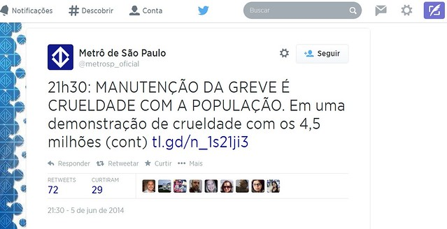 Tweet criminoso do @metrosp_oficial