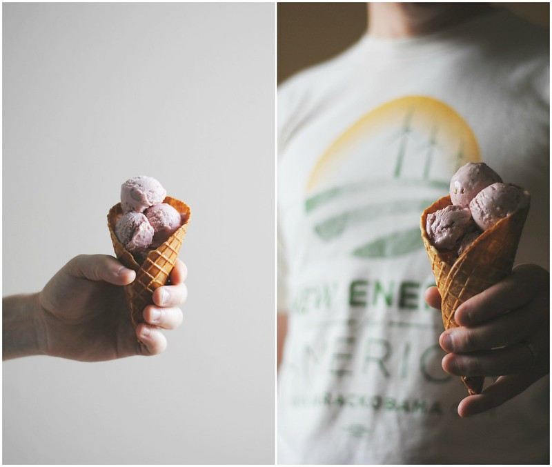 Strawberry Ice Cream + Almond Waffle Cones/Bowls