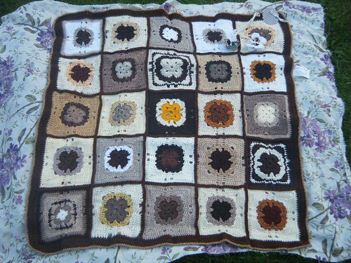 737 'Coffee and Cream' Challenge thanks to Fiona for assembling. Thanks Ladies for the Squares.