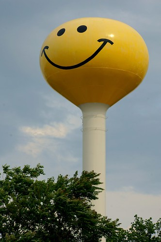 Smiley Face Water Tower - Route 66, Atlanta, Illinois