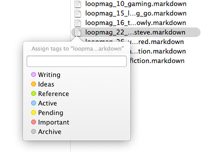 Finder tags menu
