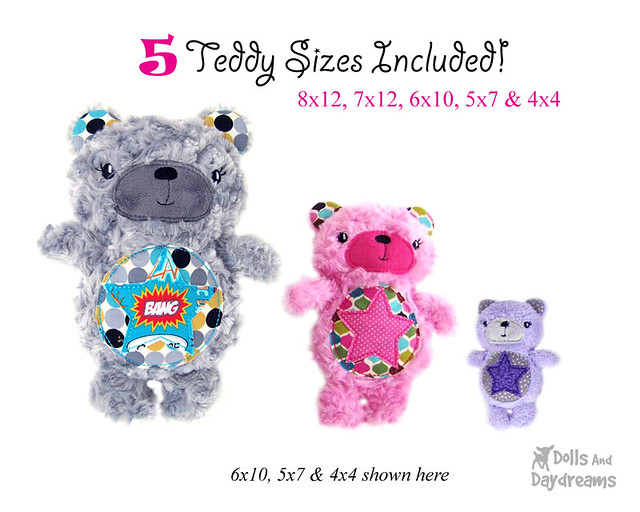 5 different sizes of teddies to make!