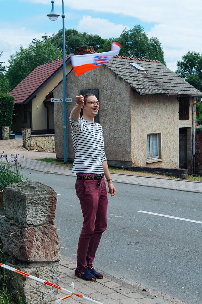 Fritz und die Thüringen-Flagge