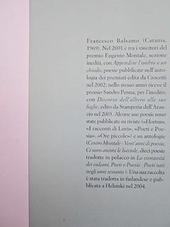 Ortografia della neve, di Francesco Balsamo. incertieditori 2010. Progetto grafico di officina delle immagini. Risvolto di copertina. (part.), 1