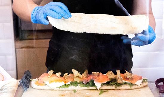 smoked salmon panini at La Sandwicheria