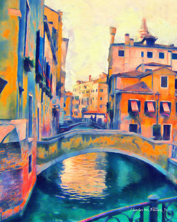 Digital Oil Painting of Venice Bridges by Charles W. Bailey, Jr.
